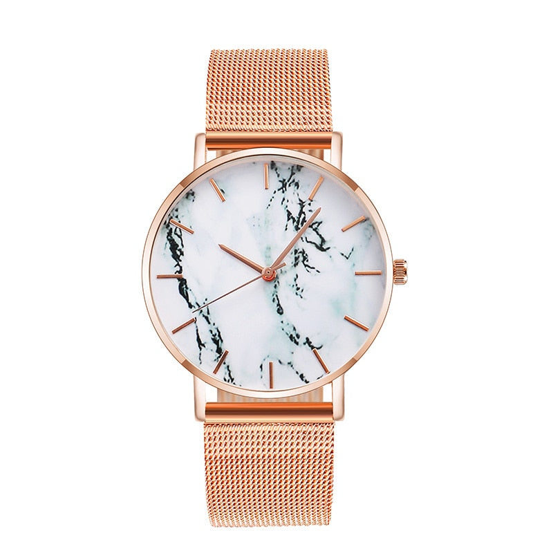 Rose Gold Mesh Band Marble