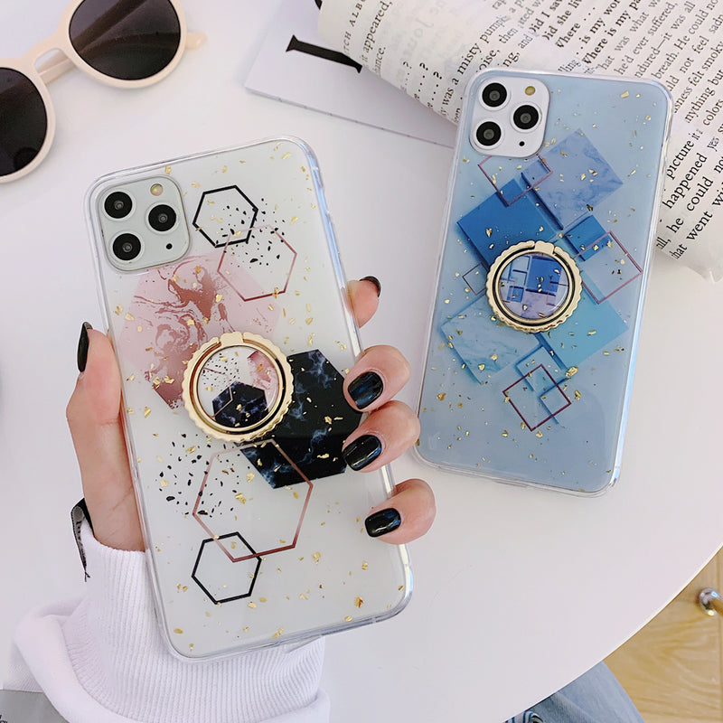Gold Powder Geometric Marble Ring Holder Phone Case For iPhone 11 Pro Max XR X XS Max 7 8 6 Plus