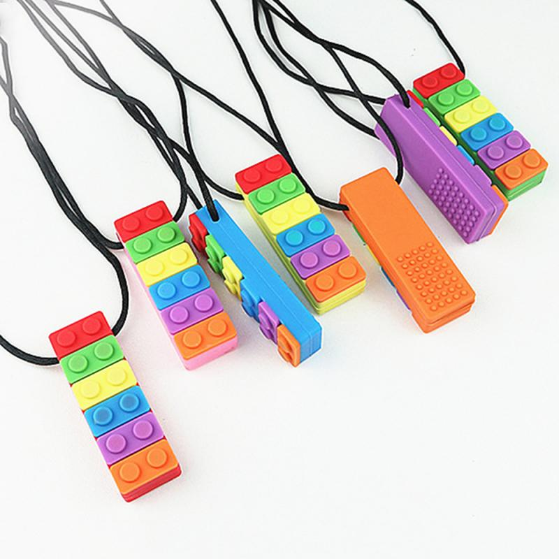 1 Pc Block Baby Teethers Sensory Chew Necklace
