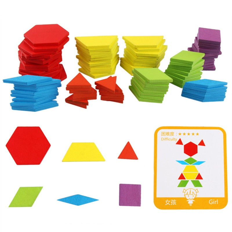 Hot Sale 155pcs Wooden Jigsaw Puzzle Board Set Colorful Baby Montessori Educational Toys for Children Learning Developing Toy|Puzzles
