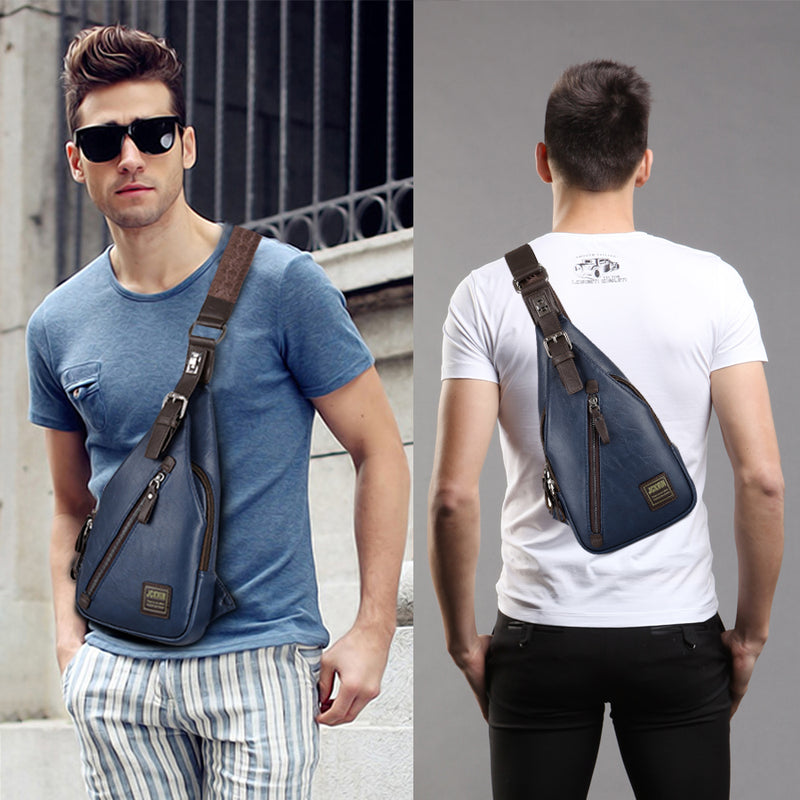 Men's Fashion Crossbody Bag Theft Proof Rotatable Button Chest Bags Men Shoulder Bags