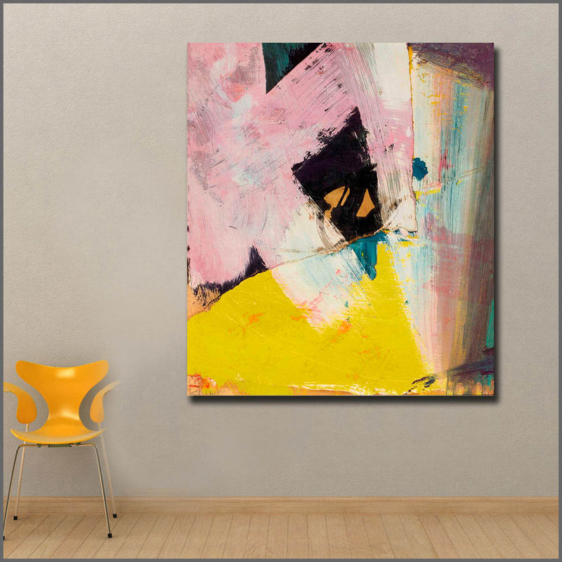 Black Angle with Yellow Wall Art Canvas Prints No Frames