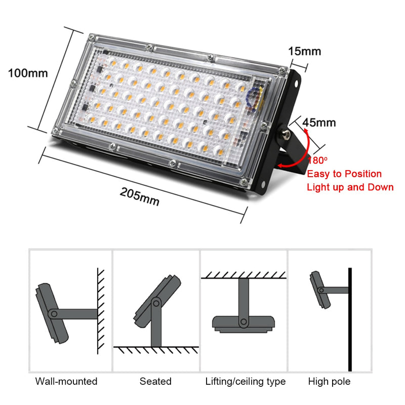 Led Floodlight 50W AC 220V 230V Outdoor Lighting Reflector Led Flood light Spotlight Projector Streetlight Exterior Waterproof|Floodlights