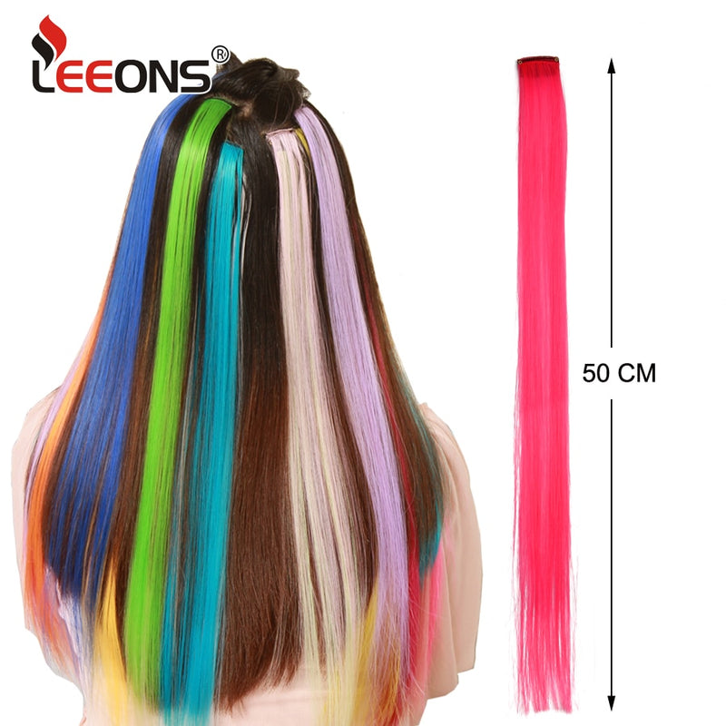 "Leeons Colored Highlight Synthetic Hair Extensions Clip In One Piece Color Strips 20"" Long Straight Hairpiece For Sports Fans
