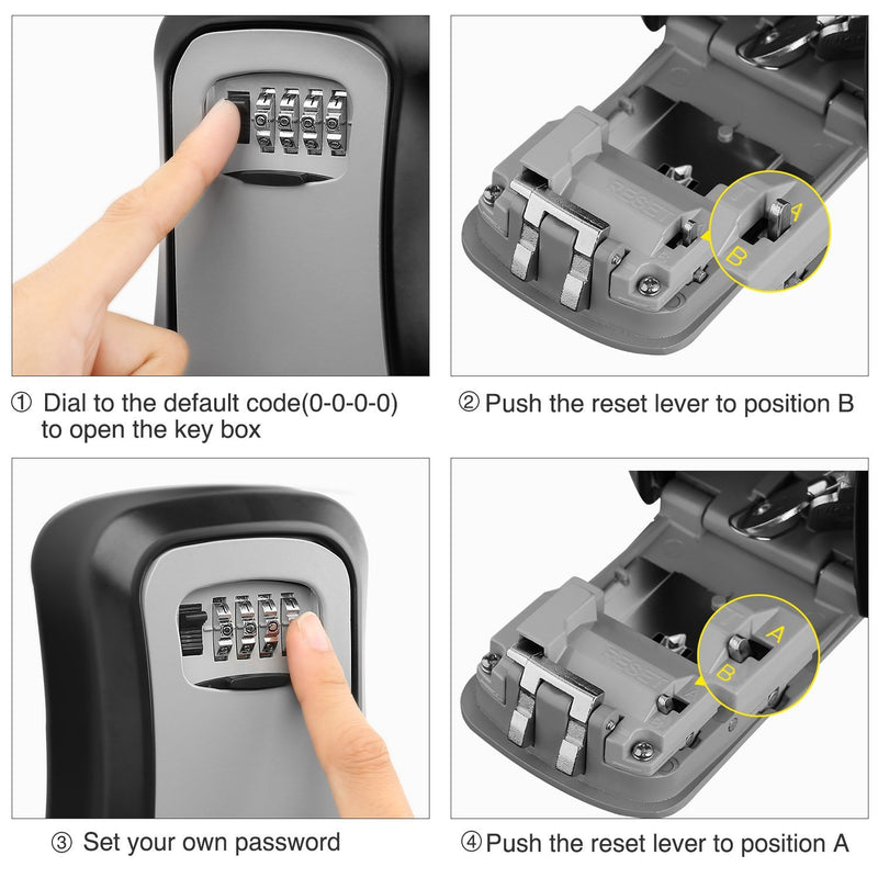 MOOL Key Lock Box Wall Mounted Aluminum alloy Key Safe Box Weatherproof 4 Digit Combination Key Storage Lock Box Indoor Outdoo|Safes