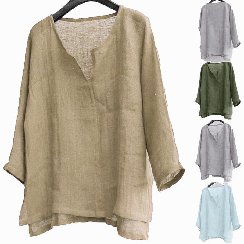Long Sleeve Blouse Pullover V Neck Tee