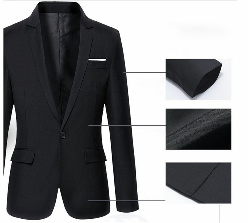 Mens Slim Fit Cotton Blazer Suit Jacket Coat
