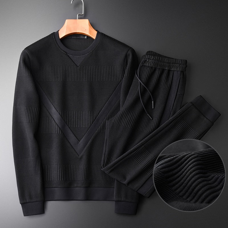 Sweatshirt Men High Quality Add Thick Round Collar Black Sweatshirt With Pants 2piece