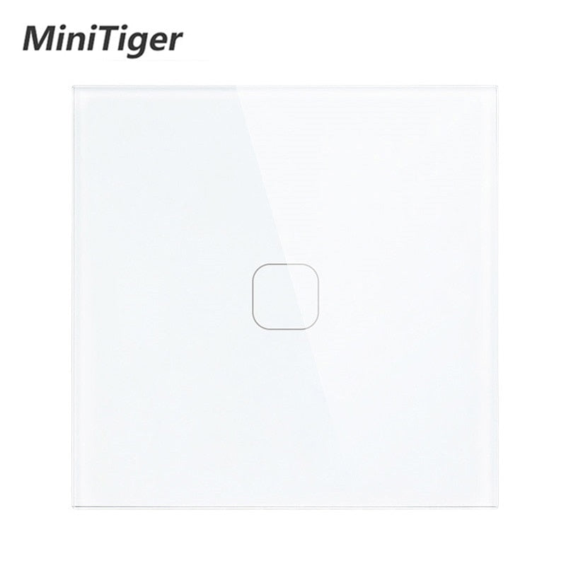 Minitiger Luxury Wall Touch Sensor Switch EU/UK Standard Light Gray Crystal Glass Touch Switch Power 1/2/3 Gang 1 Way AC 220|screen switch|1 gangcrystal glass panel switch