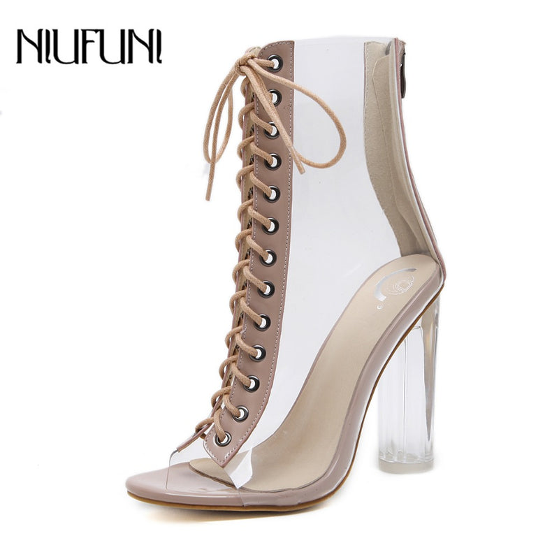 NIUFUNI Plus Size Women's Ankle Boots PVC Transparent High Heels Rain Boots Women Shoes Spring Autumn Peep Toe Botas Mujer|Ankle Boots