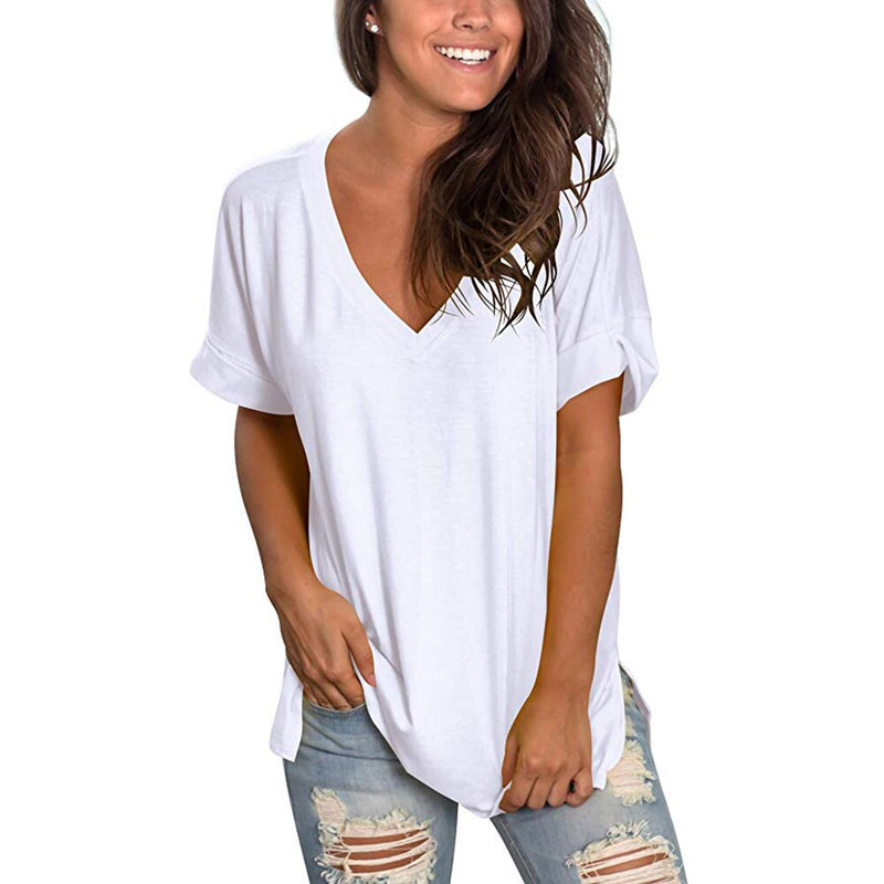 Solid V Neck Short Sleeve Rounded Hem Long Tshirt