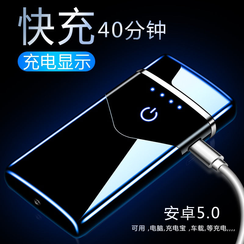 New net red high power windproof arc usb rechargeable lighter creative personality birthday gift|Cigarette Accessories
