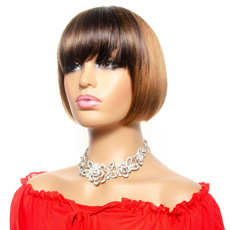 Ombre Short Bob Wig With Bangs Brazilian Straight Human Hair Wigs Honey Blond Human Hair Full Wigs With Front Bang Remy Hair|Human Hair Lace Wigs