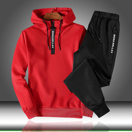 Patchwork Men's Sportswear Sets 2020 Autumn Winter Hooded Thick Male Casual Tracksuit Men 2 Piece Sweatshirt + Sweatpants Set|Men's Sets