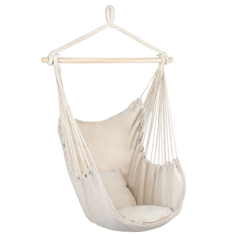 Hanging Rope Chair With Pillows Beige With 2 pillows