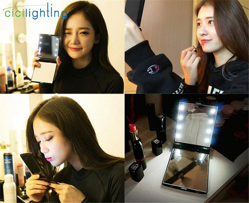 Portable LED Light Makeup Mirror Vanity lights Compact Make Up Pocket mirrors Vanity Cosmetic hand folding led Mirror lamp|Vanity Lights