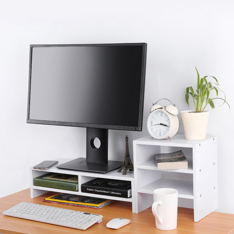 Spine and neck Computer Laptop Monitor Riser Stand Desktop with Storage Organizer