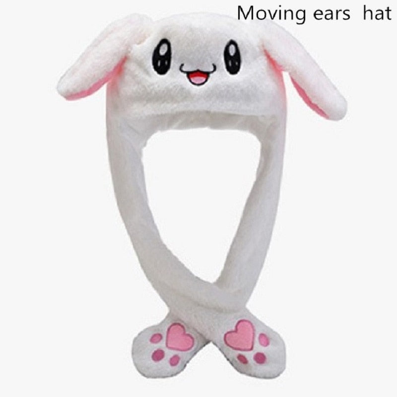 Rabbit Hat with Moving Ears Bunny Hat Ears Warm Plush Sweet Cute Airbag Cap|Cartoon Hats