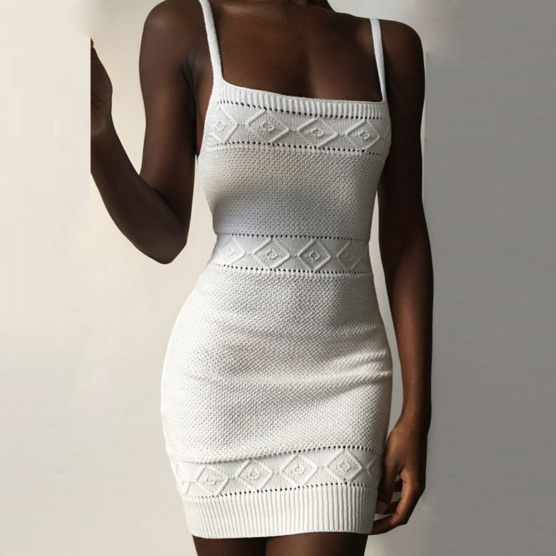 Crochet Knitted Dress Bodycon Mini Dress