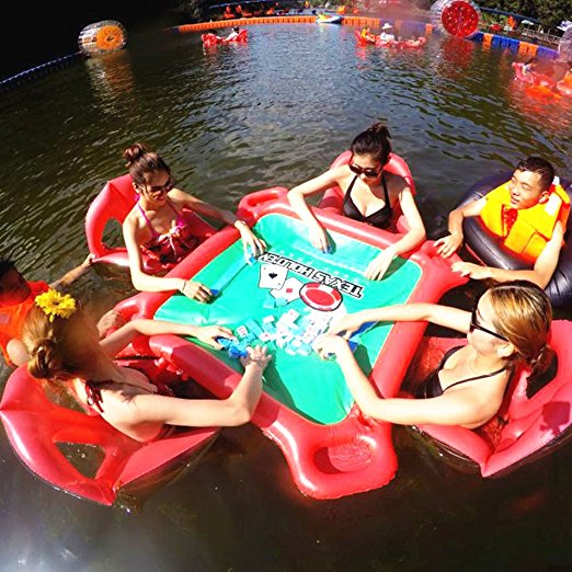 Inflatable Poker Game Adult Inflatable Floating Bed Floating Row Toys