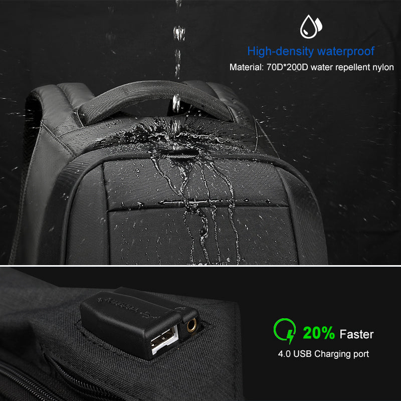 Anti Theft Zipper Laptop Backpacks Water Repellent Travel 20L Multi USB Charger