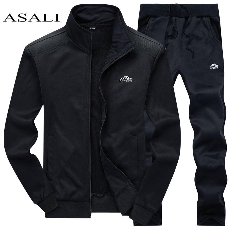Tracksuits Men Polyester Sweatshirt Sporting Fleece 2020 Gyms Spring Jacket + Pants Casual Men's Track Suit Sportswear Fitness|Men's Sets