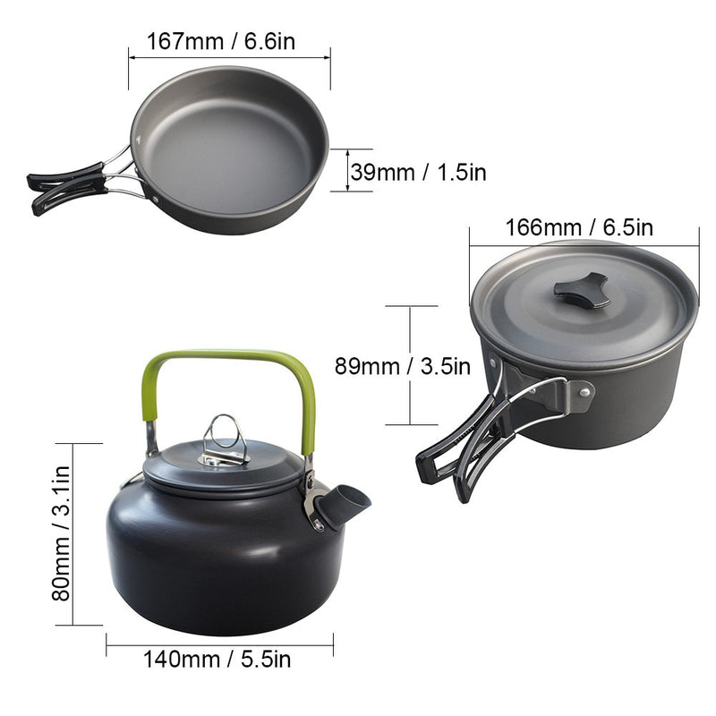 Ultra light Aluminum Alloy Camping Cookware Utensils Outdoor Cooking Teapot Picnic Tableware Kettle Pot Frying Pan 3pcs/Set|Outdoor Tablewares