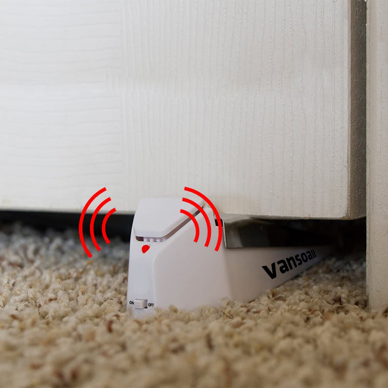 Wedge Door Stop Security Alarm with 120 dB Siren Works On All Floor Types and Carpet