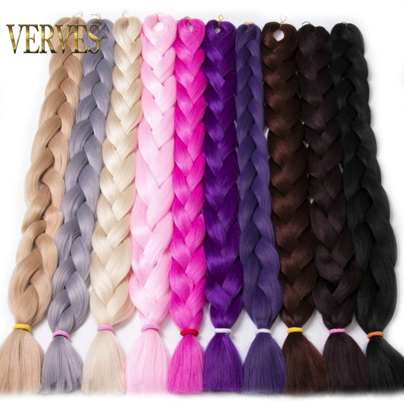 VERVES Braiding Hair one piece 82 inch Synthetic Heat Fiber braid 165g/piece pure color crochet Jumbo Braid Hair Extensions|extension hair|extension kanekalonextension braid