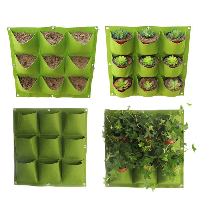 Hanging Plant Bags for wall/fence with pockets Grow Bag Planter Vertical Garden