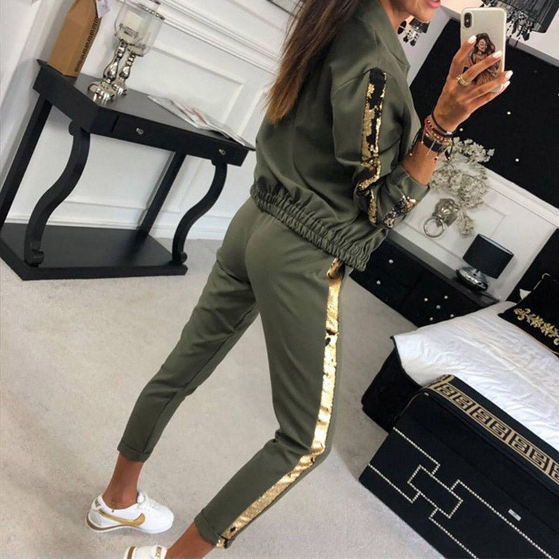 Tracksuit Long Sleeve Zippers Tops Elastic Waist