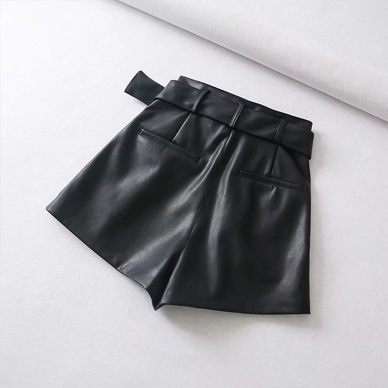Leather Shorts With Belt Faux