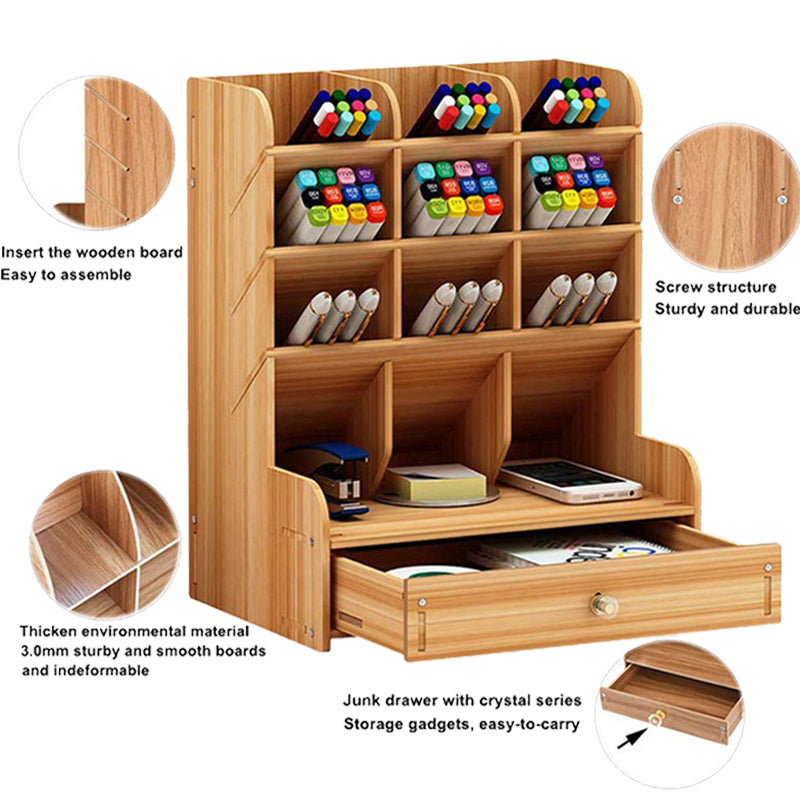 Desk Organizer Multi Functional Pen Holder Box Desktop Stationery