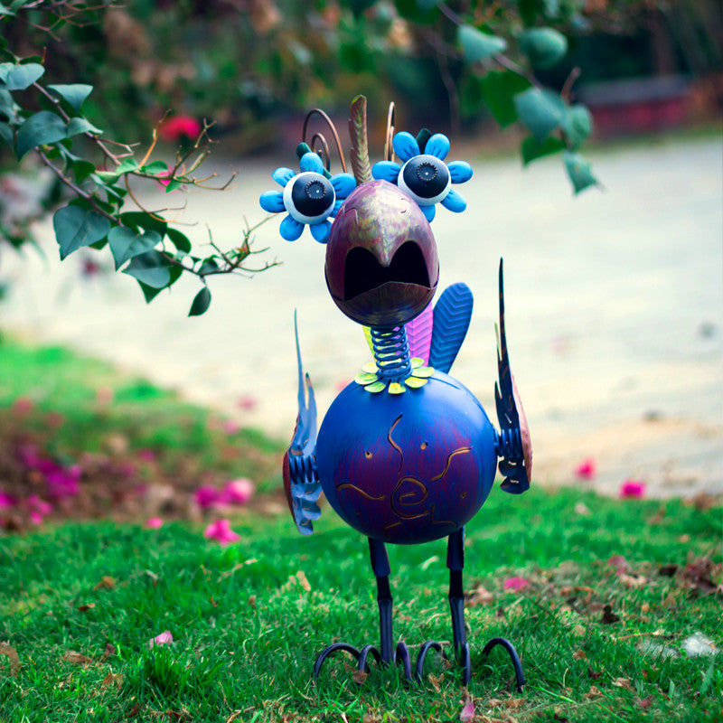 Blue Bird Garden Statues Garden Decoration Wrought Iron Animal Big Outdoor Garden Decoration