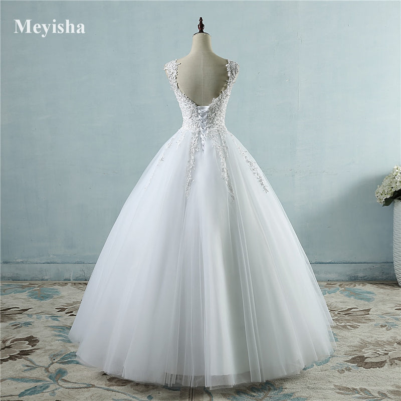 Ball Gowns Spaghetti Straps White Ivory Dresses