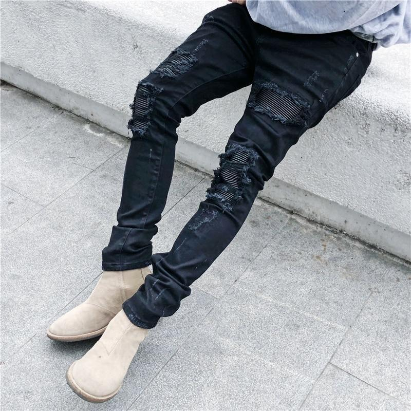 Black Icon Designer Men Ripped Jeans Black Destroyed Slim Denim Casual Skinny Ruched Biker