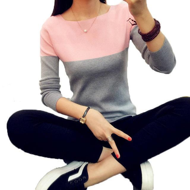 Christmas Knitted Sweater Women Autumn Winter Split Women Sweaters And Pullovers Female Pink