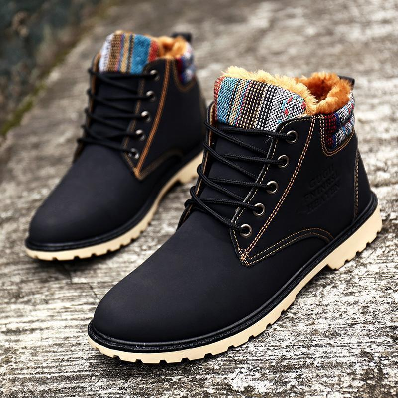 High Top Mens Boots Warm Waterproof Military Winter Boots For Men Leather