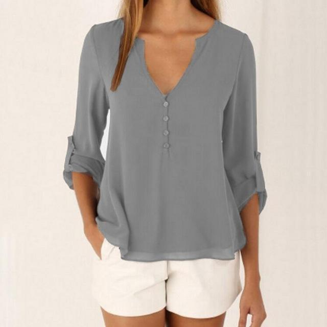 Loose Button Long Sleeve Deep V Neck Chiffon Blouse Of Large Size Womens Shirts Solid Back