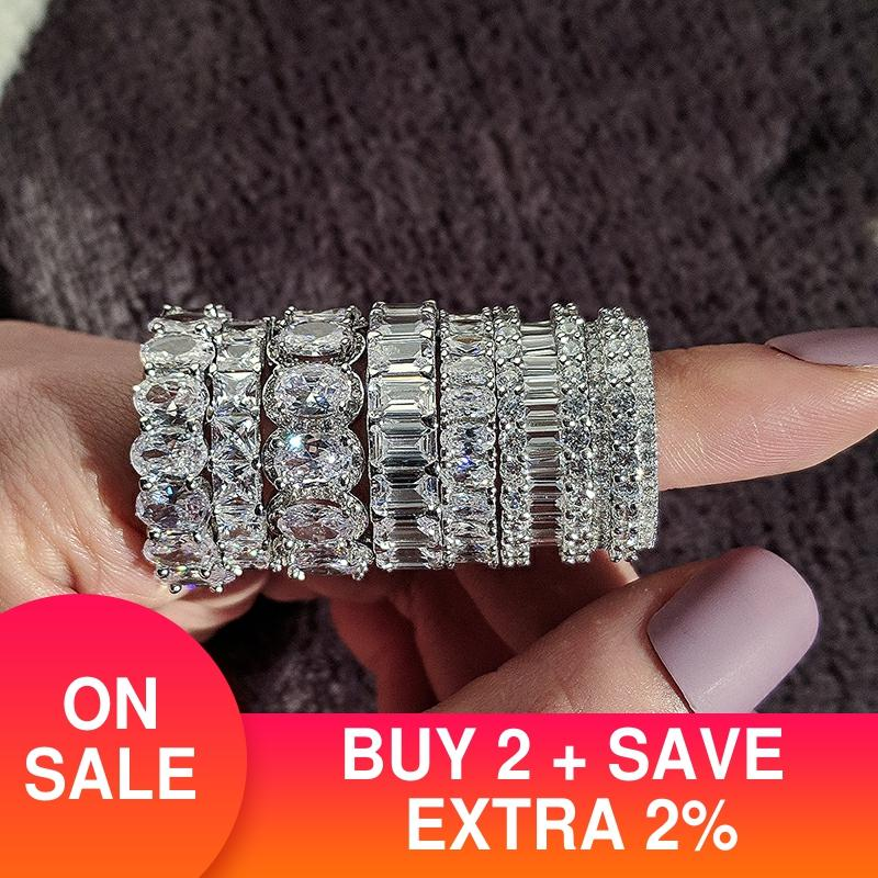 luxury 925 sterling silver wedding band eternity ring for women big gift for ladies love wholesale lots bulk jewelry R4577|Rings