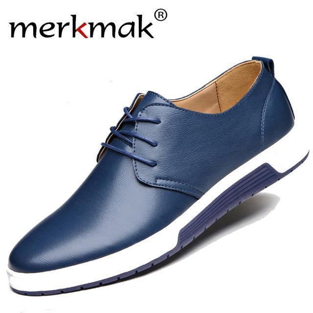 Merkmak Luxury Brand Men Shoes Casual Leather Trendy Black Blue Brown Flat Shoes For Men