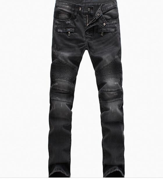 Biker Jeans Men High Stretch Cargo Denim Jeans With Zippers Pleated Slim Jean