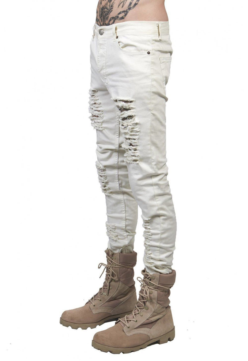 Black White Skinny Slim Fit Jeans Distressed Ripped Destroyed Holes Denim Pants