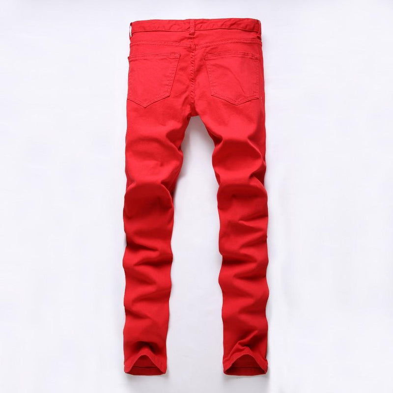 New Mens Ripped Biker Jeans 100% Cotton Red Black White Slim Fit Motorcycle Jeans Mens