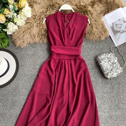 V Neck Sleeveless Dress Slim Waist