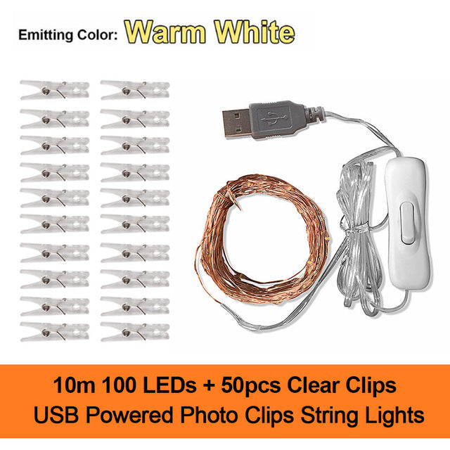 2M/5M/10M Photo Clip USB LED String Lights Fairy Lights Outdoor Battery Operated Garland Christmas Decoration Room Party Wedding|LED String
