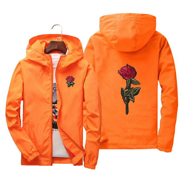 New Fashion Rose Jacket Windbreaker for Men Women Embroidery College Jackets Man Zipper High Quality Rose Embroidery Hooded|Jackets