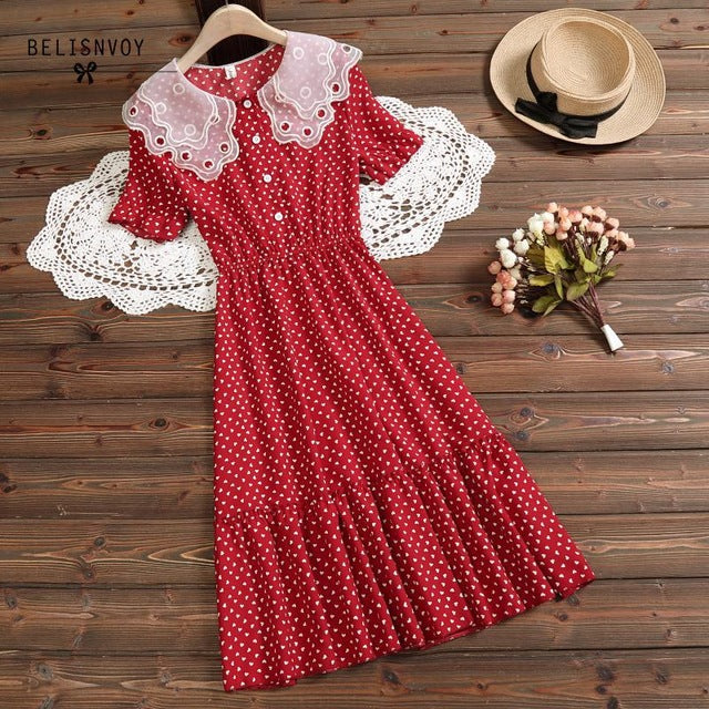 Sundress Red White Polka Dot Sleeveless