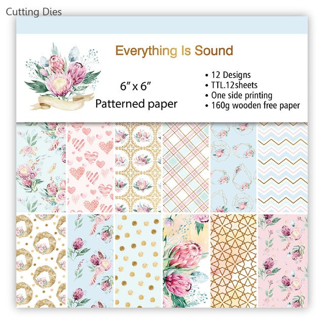2 Sheets Art Flower Pattern Background Paper