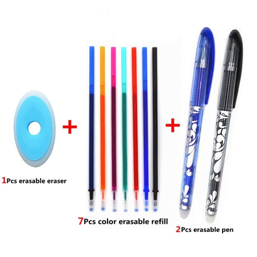 Erasable Pen Set 0.5mm Blue Black Color Ink Writing Gel Pens Washable handle for School Office Stationery Supplies|Gel Pens